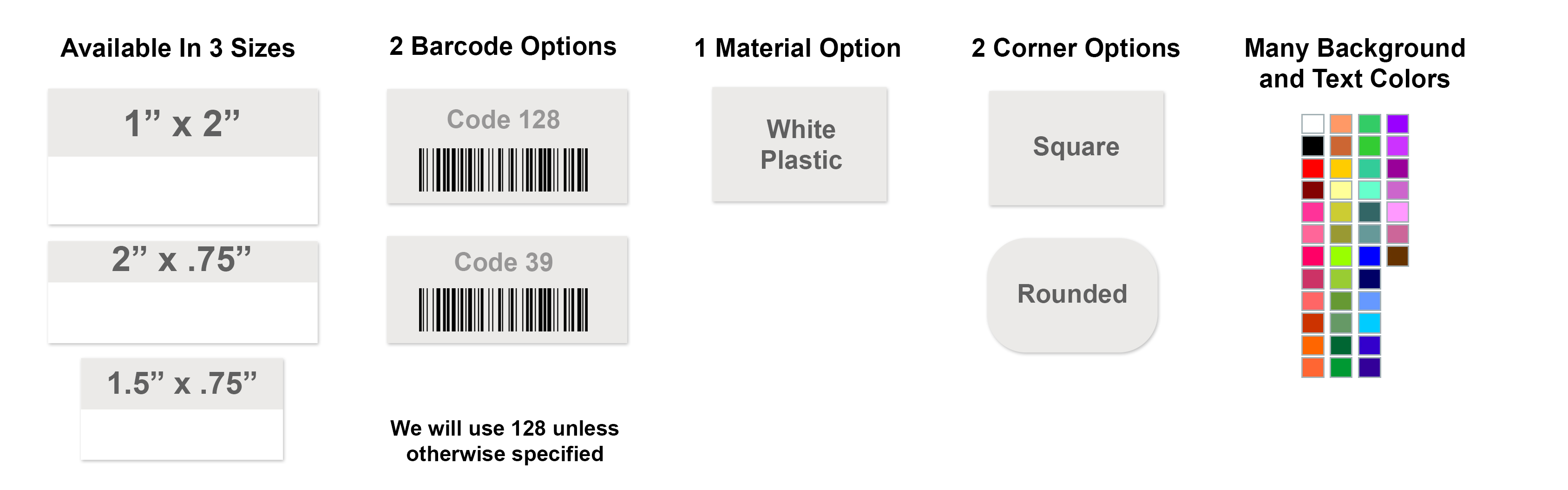 Polyester Asset Tag with Barcode Options