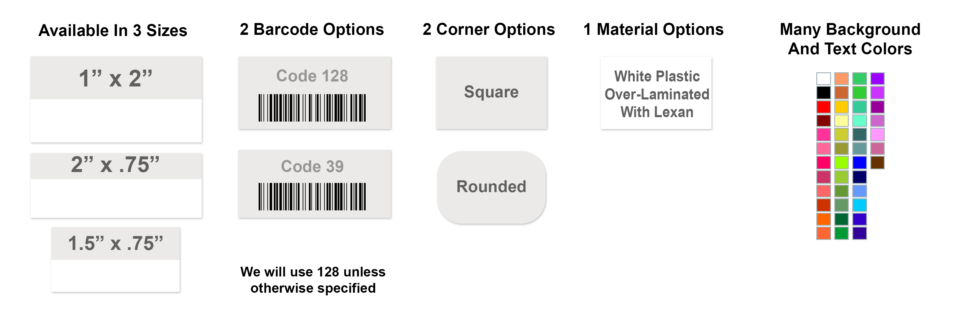 Premium Asset Tag with Barcode Options