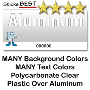 Aluminum Asset Tags Serial Number